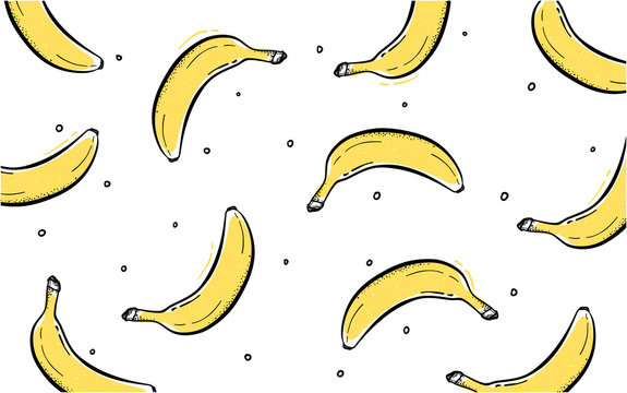 Creative Banana Frame Background With Dots Hand drawn Style Vector Design colorful