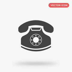 Old telephone icon isolated on white background