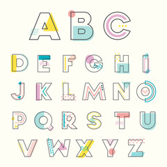 Colorful Alphabet Memphis Style with geometric punchy pastel color. Typeface Font Design for Birthday, Wedding, Baby shower invitation.