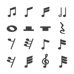 Music note icon set