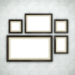 Wooden frame on wallpaper background. 3D rendering