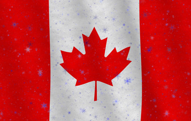Illustration of a flying Canadian flag with snowflakes scattered around