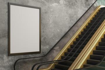 Golden escalator with empty billboard