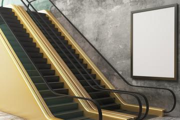 Golden escalator with empty frame