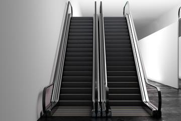 Abstract silver escalator
