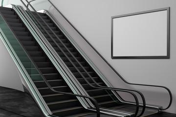 Silver escalator with empty frame