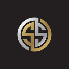 Initial letter SS, looping line, circle shape logo, silver gold color on black background