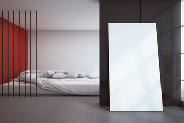 Modern bedroom with billboard
