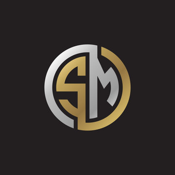Initial letter SM, looping line, circle shape logo, silver gold color on black background