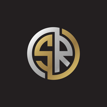 Initial letter SR, looping line, circle shape logo, silver gold color on black background