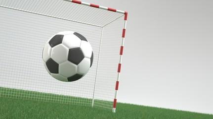 Ball in the air against football goal