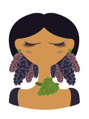 Illustration of mulberry character on white background