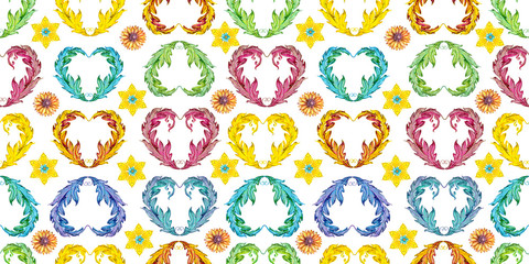 fancy seamless texture with floral vignette and stars. watercolor painting