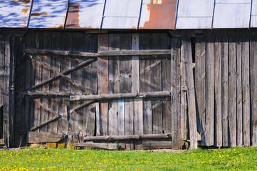 Old wooden barn in small village of Masovian Voivodeship in Poland