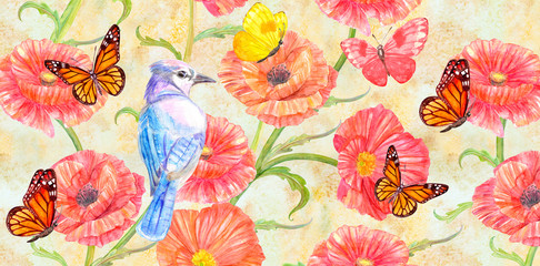 vintage banner with poppies and cute bird. watercolor painting