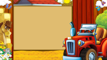 Cartoon scene with tractor near wooden framev- space for text - illustration for children
