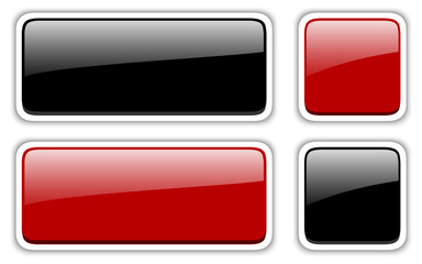Shiny buttons set, red and black vector badges.