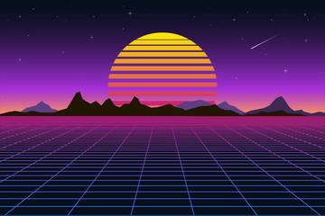 Retro background futuristic landscape 1980s style. Digital retro landscape cyber surface. Retro music album cover template sun, space, mountains .