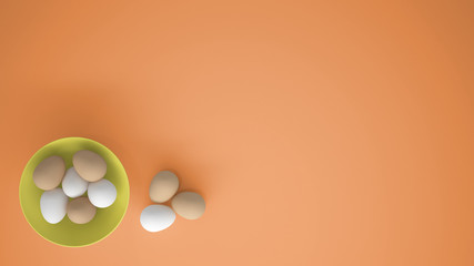 Fotobehang Chicken eggs into a yellow cup on the table, orange background with copy space, breakfast easter food concept idea, top view
