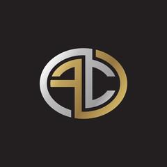Initial letter FC, looping line, ellipse shape logo, silver gold color on black background
