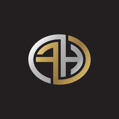 Initial letter FH, looping line, ellipse shape logo, silver gold color on black background