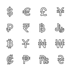 Vector image set to currency the line icons.
