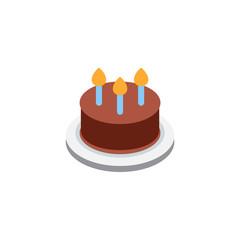 Birthday Cake homemade sweet dish food kids dessert bakery vector illustration flat icon symbol emoji emoticon pictogram sticker