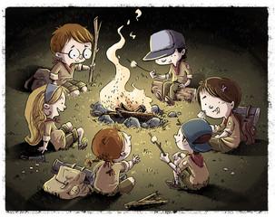 niños de acampada alrededor del fuego