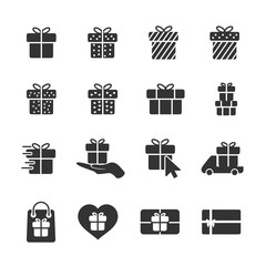 Vector image of set of gift icons.