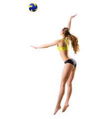 Woman beach volleyball player (ver with ball)