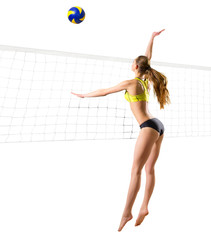 Woman beach volleyball player (ver with ball and net)