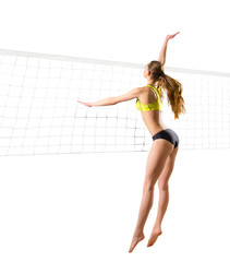 Woman beach volleyball player (ver with net)