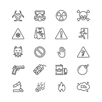 Warnings related icons: thin vector icon set, black and white kit