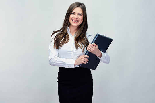 businesswoman holding laptop. Isolated portrait