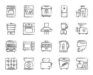 Kitchen Appliance charcoal line icons vector set