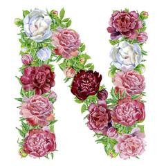 Letter N of watercolor flowers