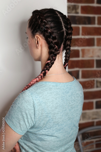 Girl With Two Braids Natural Color Dirty Pink Brown Fashionable