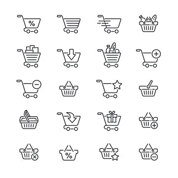 Shopping cart and basket: thin vector icon set, black and white kit