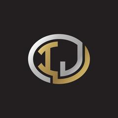 Initial letter IJ, looping line, ellipse shape logo, silver gold color on black background