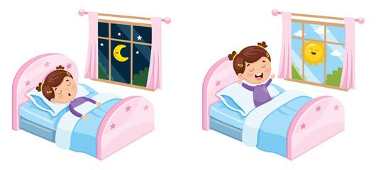 Vector Illustration Of Kid Sleeping