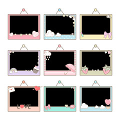 Cute photo frames design in pastel theme and decorated with cute item such as heart, strawberry, umbrella and rainbow.