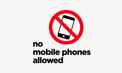 No Mobile Phones Allowed Sticker Sign in Flat Modern Style Design