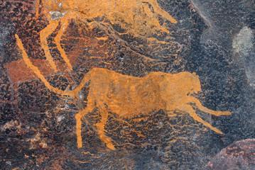 Bushmen (san) rock painting of a cheetah, South Africa.