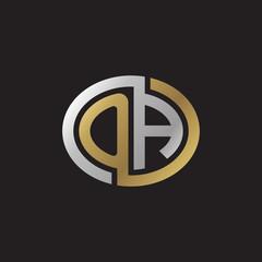 Initial letter OA, looping line, ellipse shape logo, silver gold color on black background