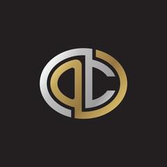 Initial letter OC, looping line, ellipse shape logo, silver gold color on black background