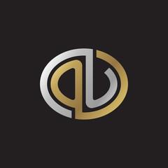 Initial letter OU, looping line, ellipse shape logo, silver gold color on black background