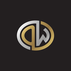 Initial letter OW, looping line, ellipse shape logo, silver gold color on black background
