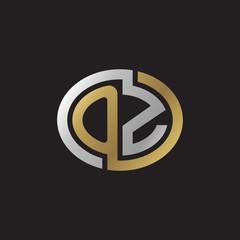Initial letter OZ, looping line, ellipse shape logo, silver gold color on black background