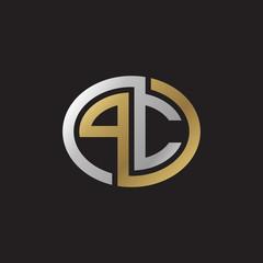 Initial letter PC, looping line, ellipse shape logo, silver gold color on black background