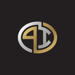 Initial letter PI, looping line, ellipse shape logo, silver gold color on black background